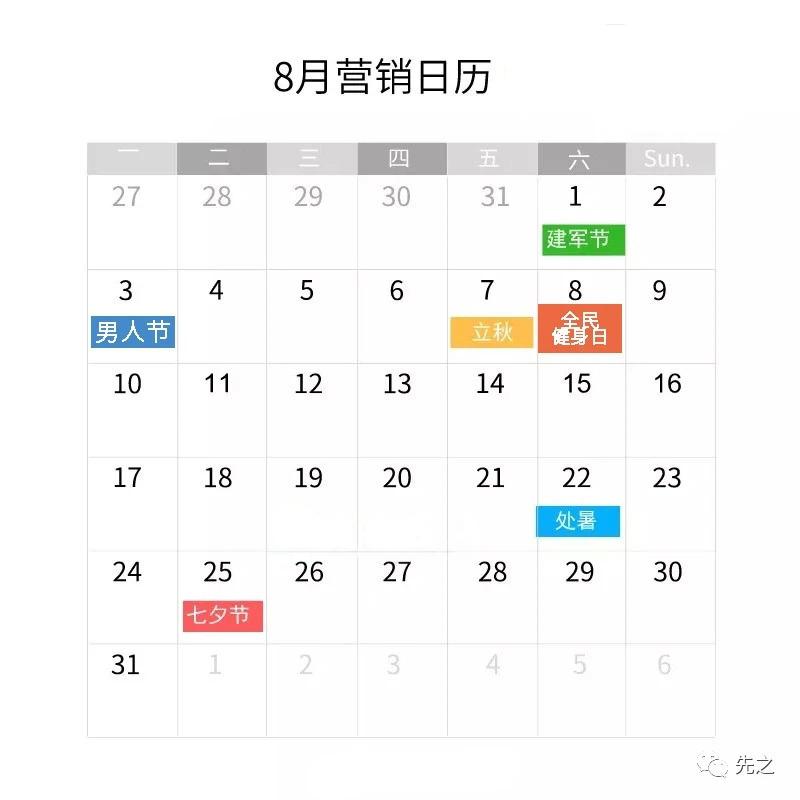 2020年,8月新媒体营销热点日历(建议收藏)